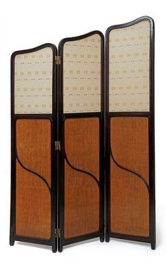 JOSEF HOFFMANN Secessionist Three Part Screen, c. 1910, manufactured by Jacob & Josef Kohn, Wien, 188cm H., each 43.5cm W.