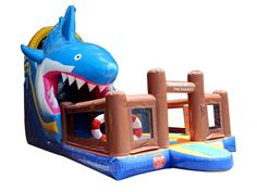 Great white shark attack inflatable slide with bouncer. Buy from Channal at a cheap price now. Great White Shark Attack, Inflatable Slide, Bouncers, Kids Toys, Bookends, Childhood Toys, Toddler Toys, Children Toys, Book Holders