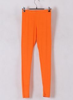 Women Euro Style Long Pencil Pants Render Pants Orange Cotton One Size@WH0103o
