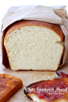 White sandwich bread from Roxanashomebaking... Soft and fluffy with a yellowish crumb and a chewy crust this bread it perfect for Pb or any deli sandwiches and even for making French toast.