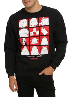 Black crewneck sweatshirt from Spirited Away with a red character grid design on front.