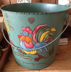 Beautiful Vintage Turquoise Hand Painted Tole by Semellebescottage, $46.00