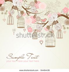 Floral summer background. Birds out of their cages concept vector - stock vector