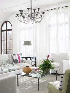 great room + dark arched windows + light room