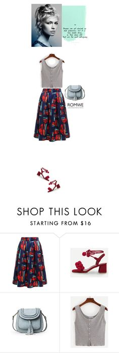 """Romwe outfit"" by blueeyed-dreamer ❤ liked on Polyvore featuring red, skirt, romwe and pompom"
