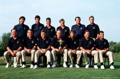 By Bob Thomas Bob Thomas Sports Photography Getty Images  Sport, Golf, The Ryder Cup, Kiawah Island, South Carolina, September 1991, USA 14 1/2 v Europe 13 1/2, The USA team pose together with the Ryder Cup trophy, Back Row L-R: Fred Couples, Steve Pate, Corey Pavin, Wayne Levi, Mark Calcavecchia, Payne Stewart, Front Row L-R: Mark O'Meara, Hale Irwin, Lanny Wadkins, Dave Stockton (captain), Paul Azinger, Ray Floyd, and Chip Beck.