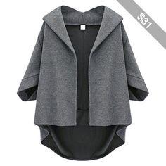 Dark Gray Irregularly Batwing Sleeve Pretty Womens Blazer