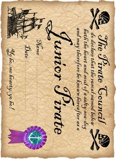 Printable certificate for a junior pirate