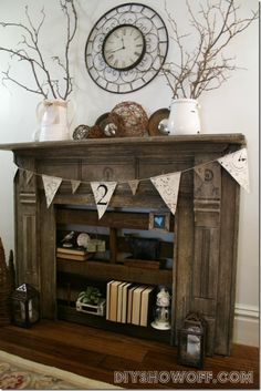 fireplace turned bookshelf farmhouse style