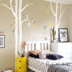 De abedul árboles y etiqueta de buhos  los niños por pinknbluebaby