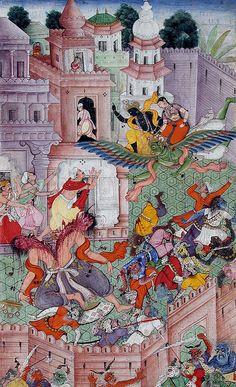 Hindu Cosmos - buddhartha: Krishna Cleaves The Demon Narakasura...