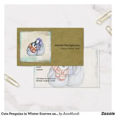 Cute Penguins in Winter Scarves and Hats Business Card