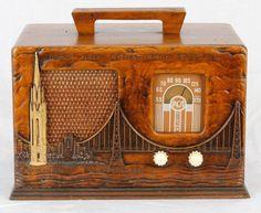 "expecttheunexpectedtoday: ""1939 - Rare RCA Victor Art Deco AM Radio / Model #40X56 / memorabilia from the San Francisco Golden Gate International Exposition / vacuum tube, bakelite, glass, wood, fabric / featuring the Golden Gate Bridge, Tower of the..."