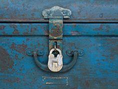 Blue Metal Trunk rom Scaramanga's vintage furniture and industrial furniture collection #industrial #vintagefurniture #homedecor