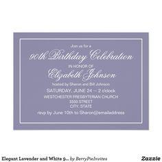Elegant Lavender And White 90th Birthday Invitation