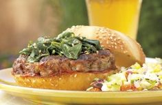 Check out this delicious recipe for Spicy Ginger-Scallion Burgers with Sesame Spinach from Weber—the world& number one authority in grilling. Bbq Beef Ribs, Ribs On Grill, Burger Recipes, Grilling Recipes, Beef Recipes, Ground Meat Recipes, Grilled Beef, Best Meat, Man Food