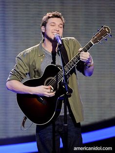 "Phillip Phillips performs ""The Letter"" by the Box Tops at the Top 5 performance show."