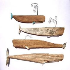 perhaps one of the most creative bits weve viewed! Handmade Whales by HandmadeLoves Etsy Creativity Driftwood Projects, Driftwood Art, Wood River, Creation Deco, Wale, Beach Crafts, Woodworking Projects Diy, Fish Art, Beach Art