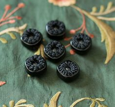 Set of 6 antique silk and bakelite passementerie buttons by RubanRuban on Etsy