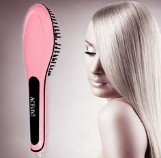 Women's Electric Hair Straightener Comb Heating Detangling Hair Brush Pink