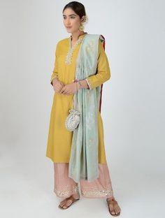 Mustard Mandarin Collar Dabka-embroidered Matka Silk Kurta