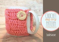 (4) Name: 'Crocheting : Basketweave Mug Cozy