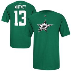 Ray Whitney Dallas Stars Reebok Name and Number Player T-Shirt - Green 6161bec5d