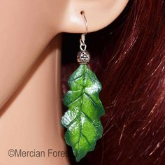Oak Leaf Earrings in Summer Tones - Sacred Oak, Pagan Jewellery, Druid, Wiccan Pagan Jewelry, Unique Jewelry, Pentacle, Leaf Earrings, Wiccan, Sculpting, Polymer Clay, Hand Painted, Trending Outfits