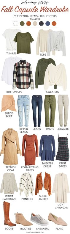 Check out my fall capsule wardrobe. Only fall colors for a minimalist wardrobe but infinite outfits. Warm colors, cozy textures and versatile pieces. 25 essential items - basics and unique. Fashion 2018, Trendy Fashion, Spring Fashion, Winter Fashion, Capsule Wardrobe 2018, Fall Wardrobe, Capsule Outfits, Wardrobe Ideas, Minimalist Wardrobe