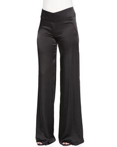 Donna Karan High-Waist Wide Fluid Pants, Women's, Size: 10, Black