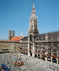 Marienplatz, Munich Germany. When we arrived they were having Christopher Street week and it was so crowded.