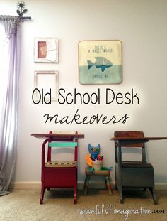 Here are two very different makeovers on old school desks. Love the mix of the two styles together. #DIY #school http://spoonfulofimagination.com/school-desk-makeover/