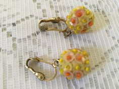 Yellow & Orange Sequin ball earings 1960's by VINTAGEwithaSMILE