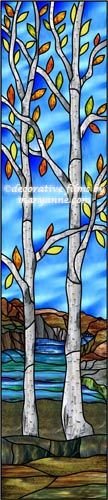 Stained Glass Aspen Trees and Mountains Decorative Window Film -In this film two Aspen trees with their colorful leaves stand in front of the mountains and a blue flowing river.