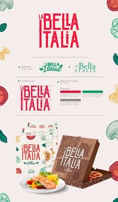 Branding - La Bella Italia on Behance Food Branding, Logo Food, Branding Design, Food Brand Logos, Logo Pizzeria, Pizza Logo, Web Design, Brochure Layout, Brand Board
