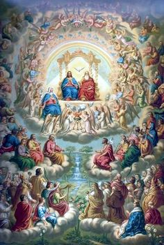 Catholic Spiritual Reading - hosts of saints adoring the Blessed Trinity. Bible, My Imitation of Christ, The Sinner's Guide, Practical Meditations. Catholic Prayers, Catholic Art, Catholic Saints, Religious Art, Catholic Books, Jesus Christ Painting, Jesus Art, Saint Philomena, Lives Of The Saints