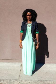 School Boy Blazer + Mint Maxi Dress   Style Pantry