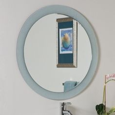 Decor Wonderland Zoe 27.6-in W x 27.6-in H Round Frameless Bathroom Mirror with Hardware and Beveled Edges