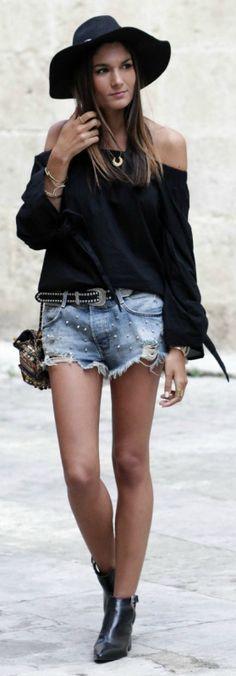 Federica + super stylish + off-the-shoulder black top + edgy, yet feminine feel + distressed shorts + ultimate summer look.  Top: NA-KD, Shorts: Zara, Shoes: ASOS