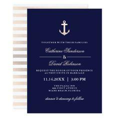 Rose Gold and Navy Nautical Wedding Invitations Nautical Wedding Invitations, Beach Wedding Favors, Wedding Invitation Design, Invites, Striped Wedding, Cruise Wedding, Rose Gold, Nautical Theme, Nautical Anchor