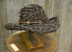 barbed wire art-cowboy hat...