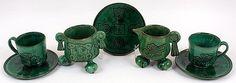 monte alban pottery   TEA SET 14 PIECES. Alfareria Jimenez hand made Mexican Oaxaca pottery ...