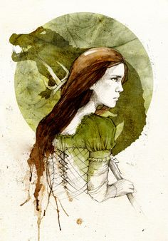 """Meera Reed by elia-illustration on deviantART. """"Meera reminded Bran of his sister Arya. She wasn't scared to get dirty, and she could run and fight and throw as good as a boy. She was older than Arya, though; almost sixteen, a woman grown."""""""