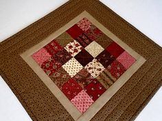 Quilted Table Topper in Earth Tones Primitive Quilted Table