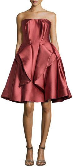 Zac Posen Strapless Peplum Full-Skirt Dress, Rose #zacposen #peplum #strapless #dress #marsala #rose #red #fashion #cocktail #bridesmaids