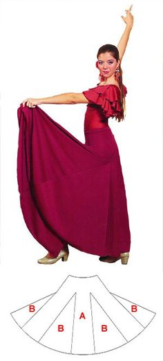Flamenco dance skirt with 6 seams (quillas) and 6 gores