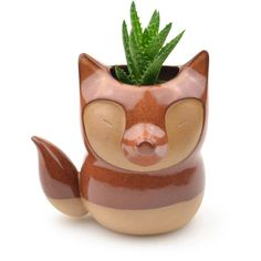 Cute Fox Ceramic Planter Rust Red Made In Brazil ($49) ❤ Liked On Polyvore