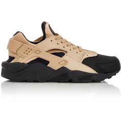 Nike Air Huarache Run Premium Sneakers ($125) ❤ liked on Polyvore featuring mens, men's shoes, men's sneakers and black