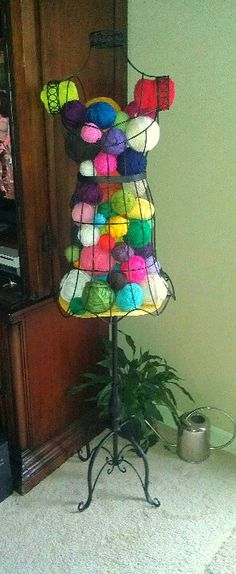 One of my Christmas gifts- I thought it'd look cute holding a small portion of my yarn stash. I love it!:)