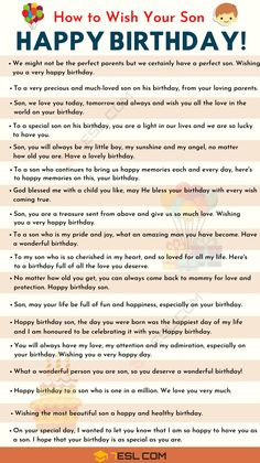 List of birthday wishes for your son